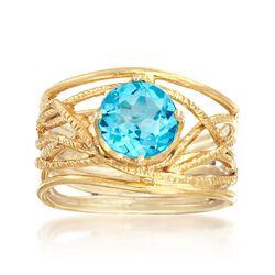2.20 Carat Blue Topaz Textured Openwork Ring in 18kt Gold Over Sterling, , default