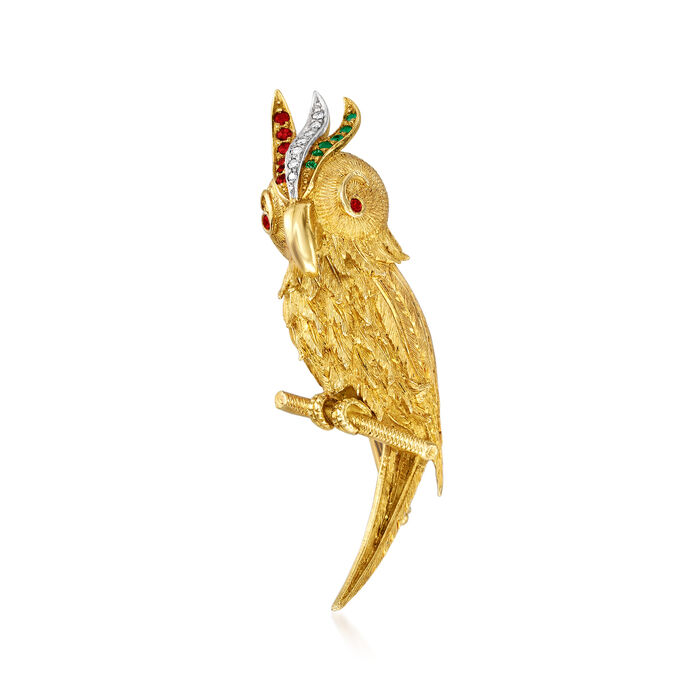 C. 1970 Vintage .15 ct. t.w. Ruby and .10 ct. t.w. Diamond Parrot Pin with Emerald Accents in 18kt Yellow Gold, , default