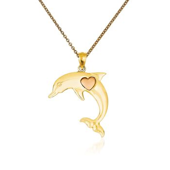 """14kt Two-Tone Gold Dolphin Pendant Necklace. 18"""", , default"""