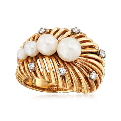 C. 1980 Vintage 3-6mm Cultured Pearl and .15 ct. t.w. Diamond Shrimp Ring in 14kt Yellow Gold, , default