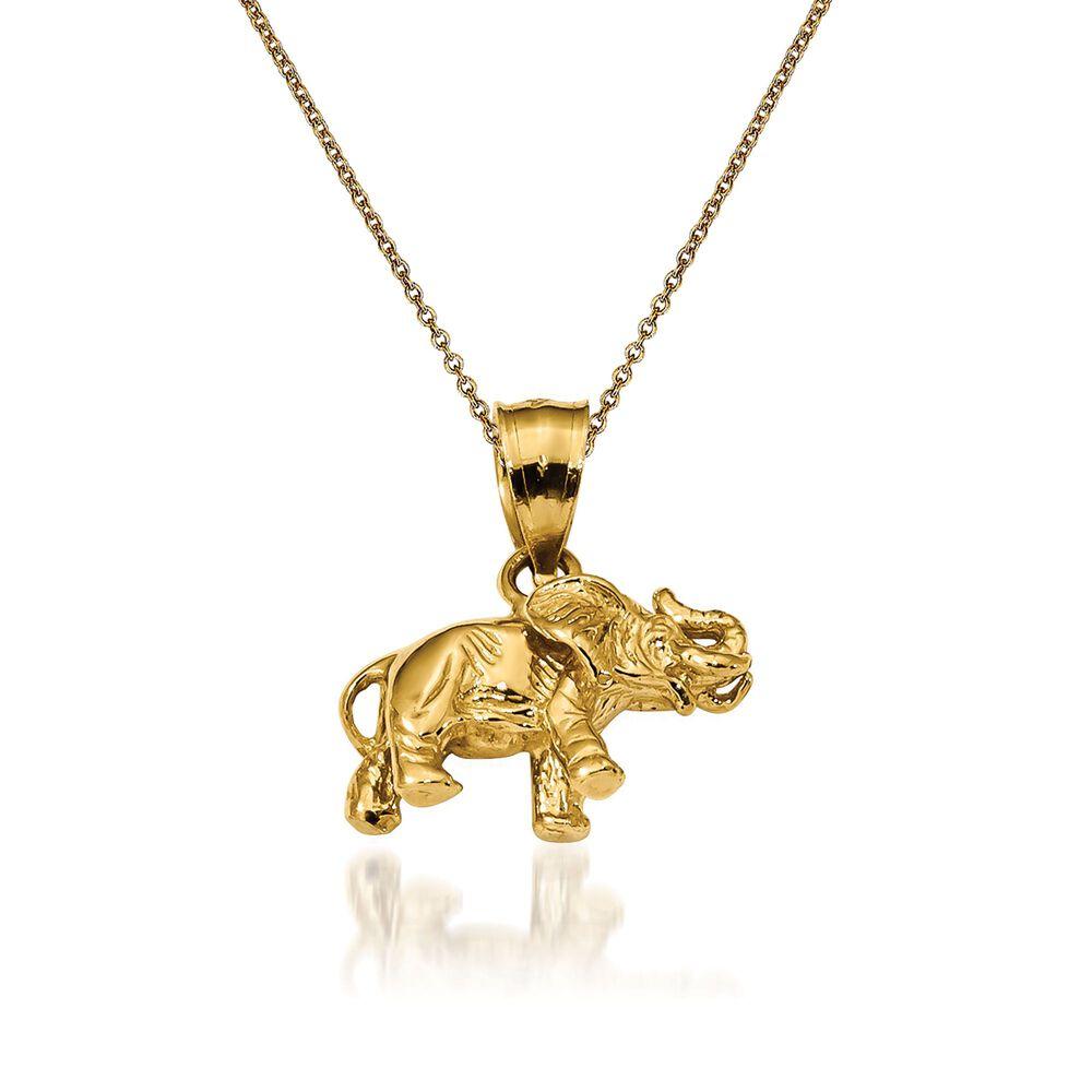 14kt yellow gold elephant pendant necklace 18 ross simons 14kt yellow gold elephant pendant necklace 18quot default aloadofball Images