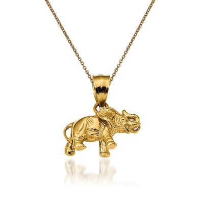 14kt Yellow Gold Elephant Pendant Necklace, , default