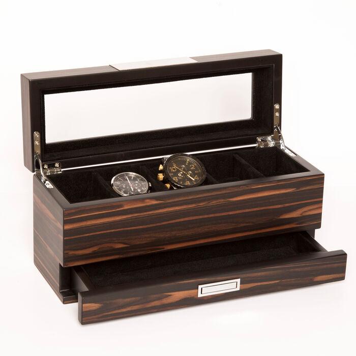 Brouk & Co. Matte Ebony Wooden 5-Watch Box and Jewelry Tray