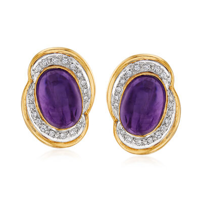 C. 1980 Vintage 15.40 ct. t.w. Amethyst and .40 ct. t.w. Diamond Clip-On Earrings in 14kt Yellow Gold, , default