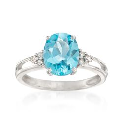 3.30 Carat Topaz and Diamond Ring in 14kt White Gold, , default