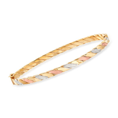 Italian 18kt Tri-Colored Gold Twisted Bangle Bracelet