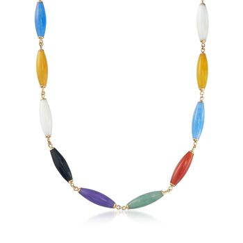 """Multicolored Jade Bead Necklace With 14kt Yellow Gold. 18"""", , default"""