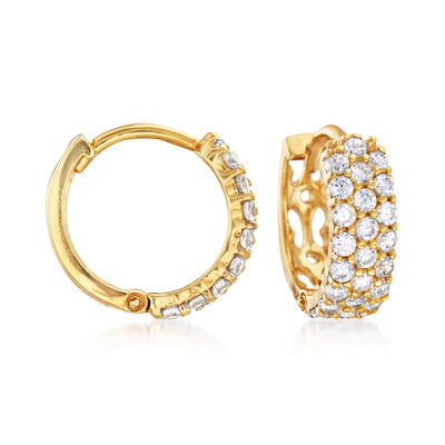 .80 ct. t.w. CZ Huggie Hoop Earrings in 14kt Gold Over Sterling