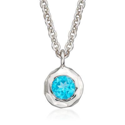 "Zina Sterling Silver ""Sahara"" .60 Carat Blue Topaz Pendant Necklace, , default"