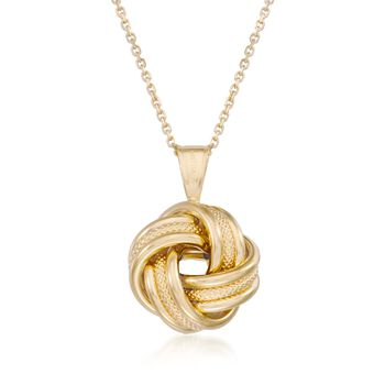 "14kt Yellow Gold Love Knot Pendant Necklace. 18"", , default"