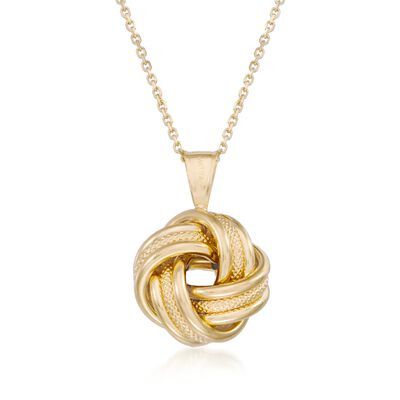 14kt Yellow Gold Love Knot Pendant Necklace, , default