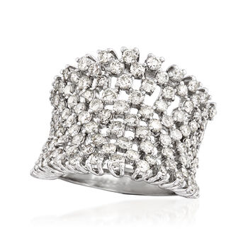 3.00 ct. t.w. Diamond Concave Wide Ring in 18kt White Gold