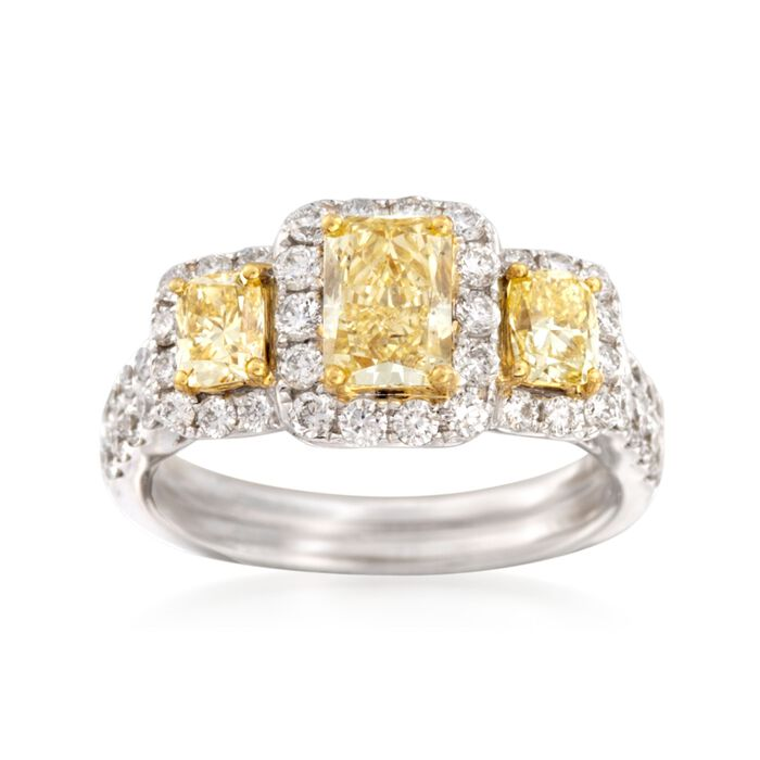 2.44 ct. t.w. Fancy Yellow and White Diamond Engagement Ring in 18kt White Gold, , default