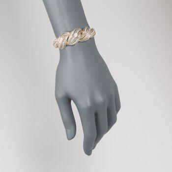 "C. 1980 Vintage 3.00 ct. t.w. Diamond Twist Bracelet in 18kt Yellow Gold. 6.5"""