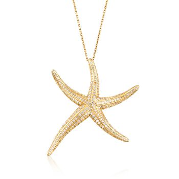 """1.50 ct. t.w. Pave CZ Starfish Pendant Necklace in 14kt Gold Over Sterling. 18"""", , default"""