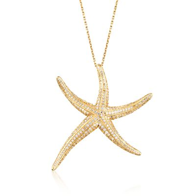 1.50 ct. t.w. Pave CZ Starfish Pendant Necklace in 14kt Gold Over Sterling, , default