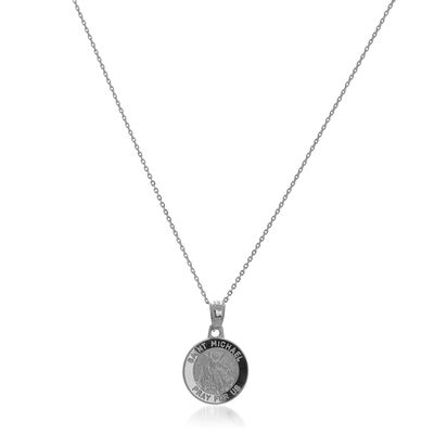 14kt White Gold Small Michael Medal Pendant Necklace, , default
