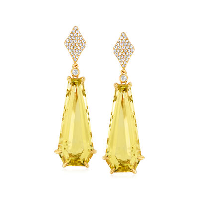 18.00 ct. t.w. Lemon Quartz and .40 ct. t.w. White Zircon Drop Earrings in 18kt Gold Over Sterling