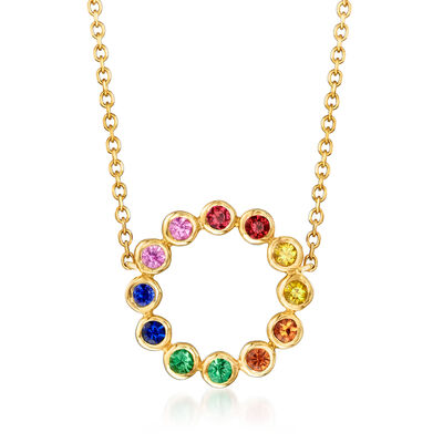 .40 ct. t.w. Multicolored Sapphire, .10 ct. t.w. Tsavorite and .10 ct. t.w. Ruby Circle Necklace in 14kt Yellow Gold