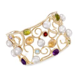 9mm Cultured Pearl and 9.05 ct. t.w. Multi-Stone Swirl Cuff Bracelet in 18kt Gold Over Sterling, , default