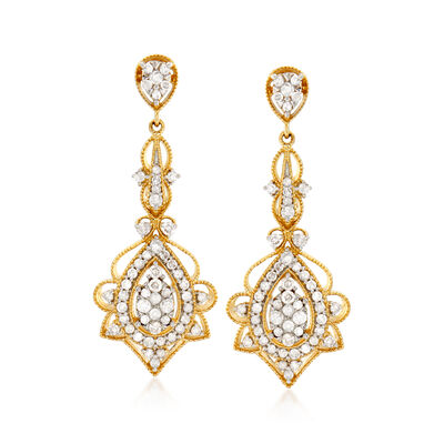 1.00 ct. t.w. Diamond Openwork Drop Earrings in 14kt Yellow Gold, , default