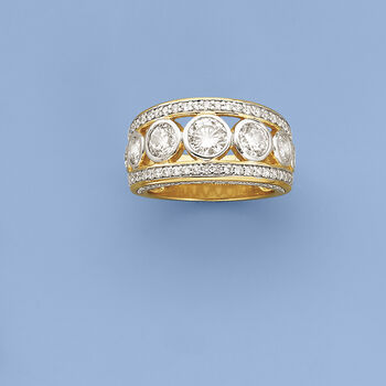 3.50 ct. t.w. CZ Ring in 14kt Yellow Gold Over Sterling Silver. Size 5