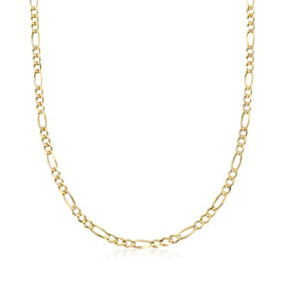Men's 4.5mm 14kt Yellow Gold Figaro-Link Chain Necklace, , default