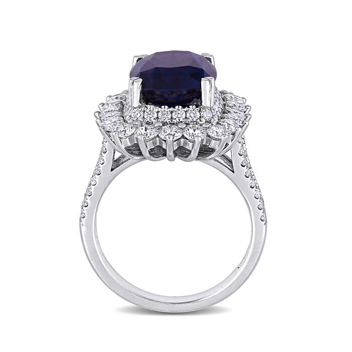 6.20 Carat Purple Spinel and 1.71 ct. t.w. Diamond Ring in 14kt White Gold