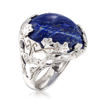 Italian Lapis Ring in Sterling Silver. Size 5, , default