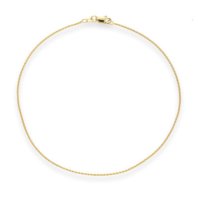 14kt Yellow Gold Wheat Chain Anklet, , default