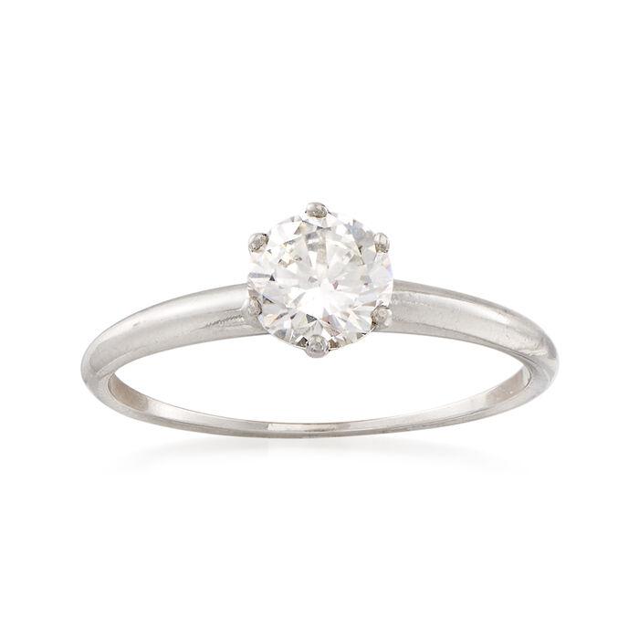 C. 1980 Vintage Tiffany Jewelry .75 Carat Diamond Ring in Platinum. Size 6.5, , default
