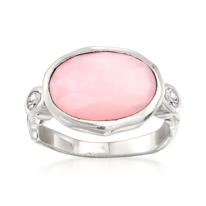 Pink Opal and .20 ct. t.w. White Topaz Ring in Sterling Silver, , default