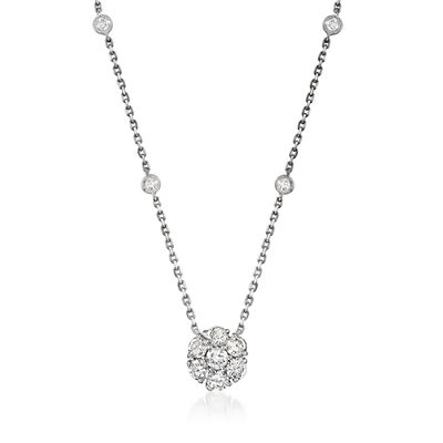 C. 1990 Vintage 1.41 ct. t.w. Diamond Flower Station Necklace in 14kt White Gold