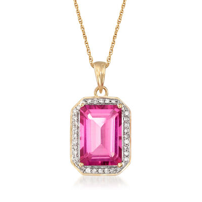 6.50 Carat Pink Topaz and .23 ct. t.w. Diamond Pendant Necklace in 14kt Yellow Gold, , default