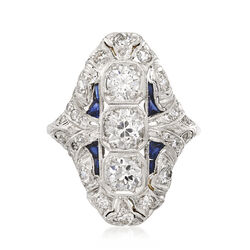 C. 1980 Vintage 2.10 ct. t.w. Diamond and Synthetic Sapphire Ring in Platinum, , default