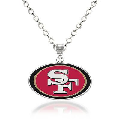 """Sterling Silver NFL San Francisco 49ers Enamel Pendant Necklace. 18"""", , default"""