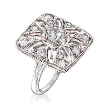 C. 1950 Vintage 1.05 ct. t.w. Diamond Cut-Out Flower Ring in Platinum. Size 5, , default