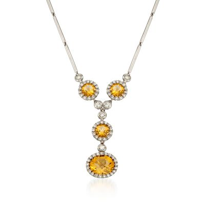 5.70 ct. t.w. Citrine and .78 ct. t.w. Diamond Pendant Necklace in 18kt White Gold , , default