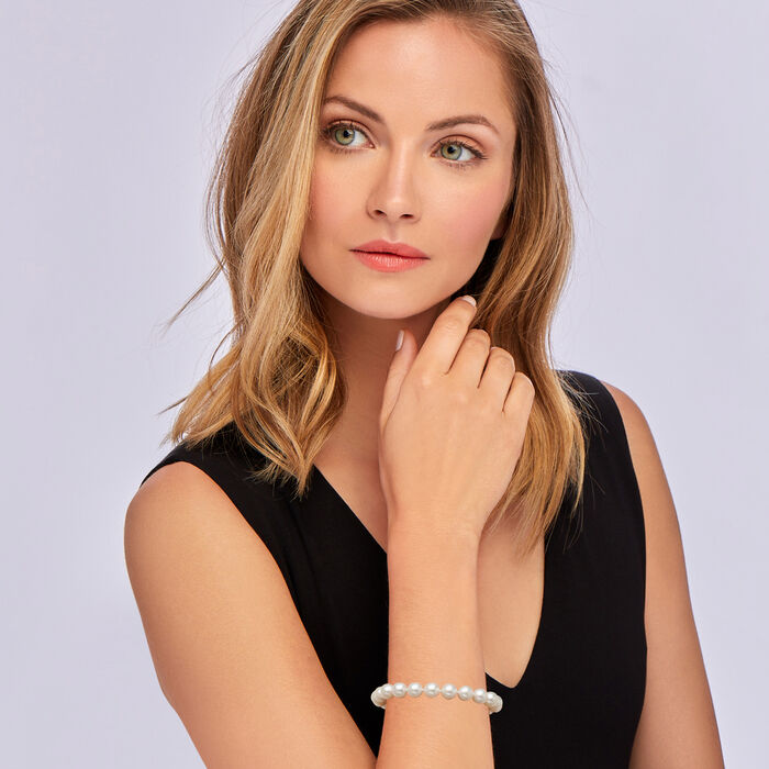 8-8.5mm Cultured Akoya Pearl Bracelet with 18kt White Gold