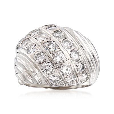 C. 1970 Vintage 2.00 ct. t.w. Diamond Shrimp Ring in 14kt White Gold, , default
