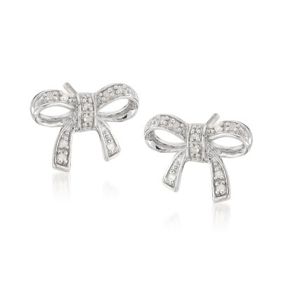 Sterling Silver Bow Earrings with Diamond Accents, , default