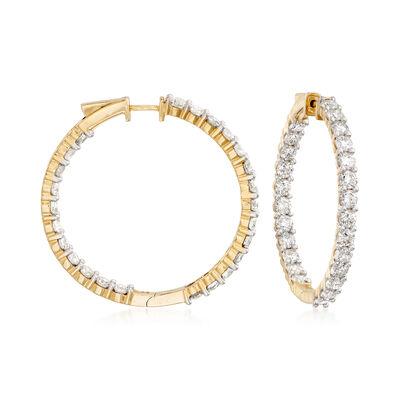 10.00 ct. t.w. Diamond Inside-Outside Hoop Earrings in 14kt Yellow Gold, , default