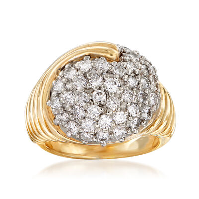C. 1980 Vintage 1.60 ct. t.w. Pave Diamond Swirl Ring in 14kt Yellow Gold