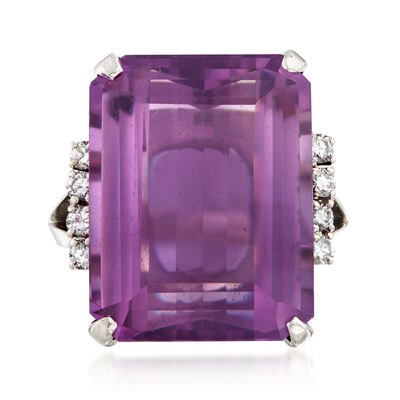 C. 1970 Vintage 16.00 Carat Amethyst and .25 ct. t.w. Diamond Ring in 14kt White Gold