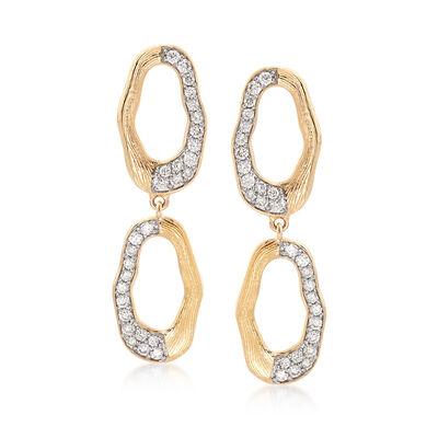 .70 ct. t.w. Diamond Double Oval Drop Earrings in 14kt Yellow Gold, , default
