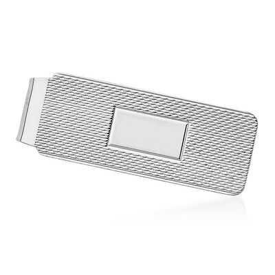 Sterling Silver  Textured Three-Initial Engravable Money Clip, , default