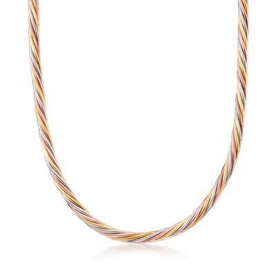 Italian Tri-Colored Sterling Silver Twisted Necklace with Magnetic Clasp
