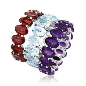 Multi-Gemstone Jewelry Set: Three Rings in Sterling Silver, , default