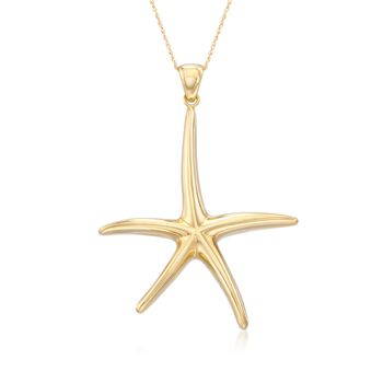 "Andiamo 14kt Yellow Gold Starfish Pendant Necklace. 18"", , default"