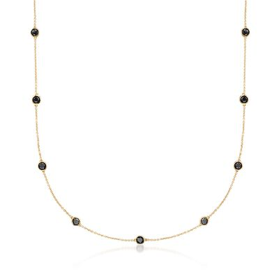 3.00 ct. t.w. Black Diamond Station Necklace in 14kt Yellow Gold, , default